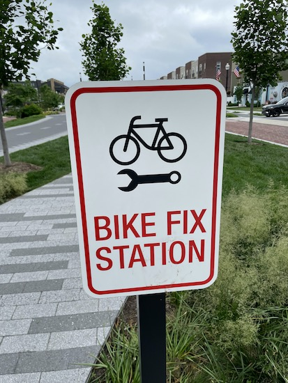 sign of a bike fix station along the bicycle trail