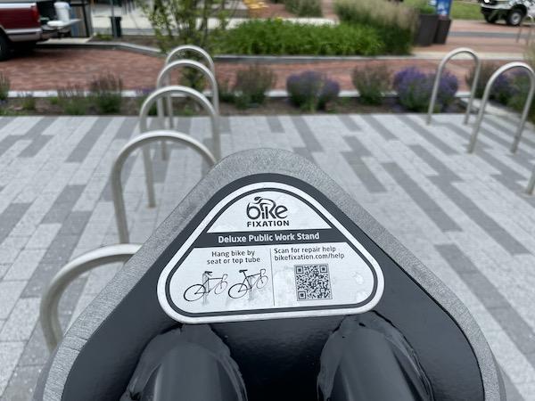 QR code on a bike fix station
