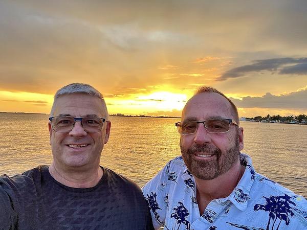 Mark and Chuck enjoying a Sanibel Island sunset