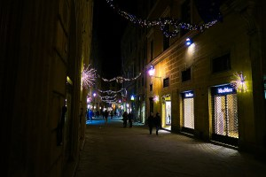 A street lit for Christmas in Siena, Italy