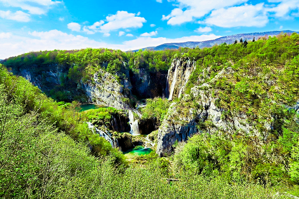 View above Entrance 1 at Plitvice Lakes National Park