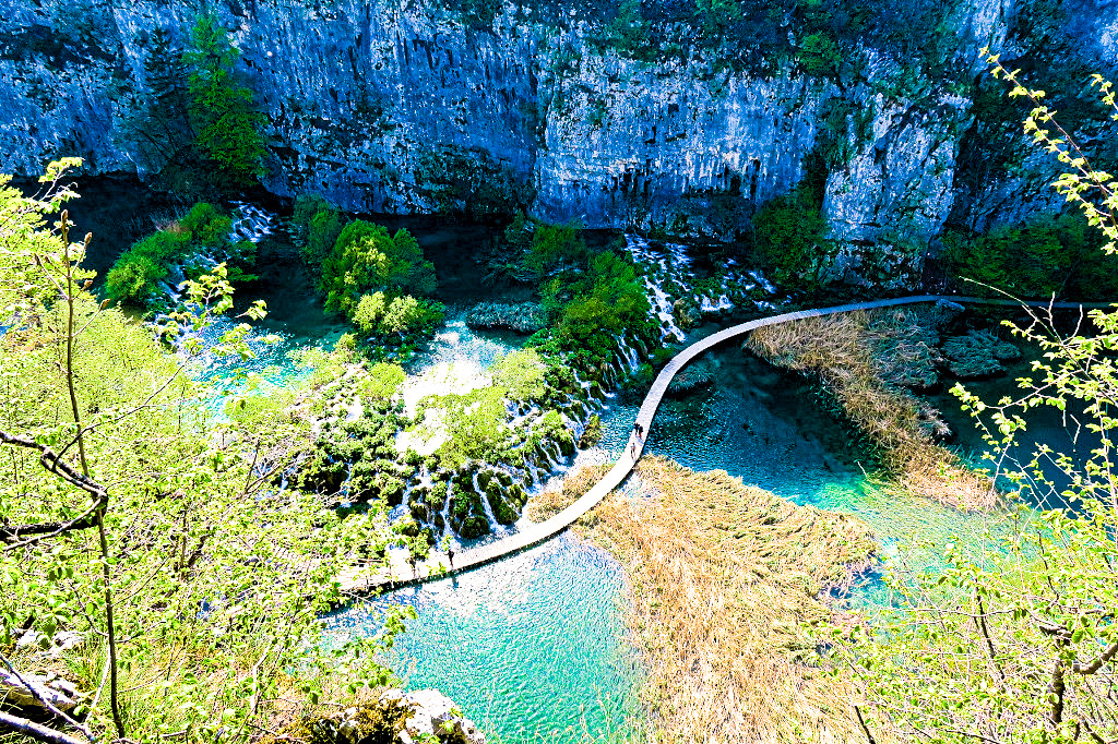 The view from above at Plitvice