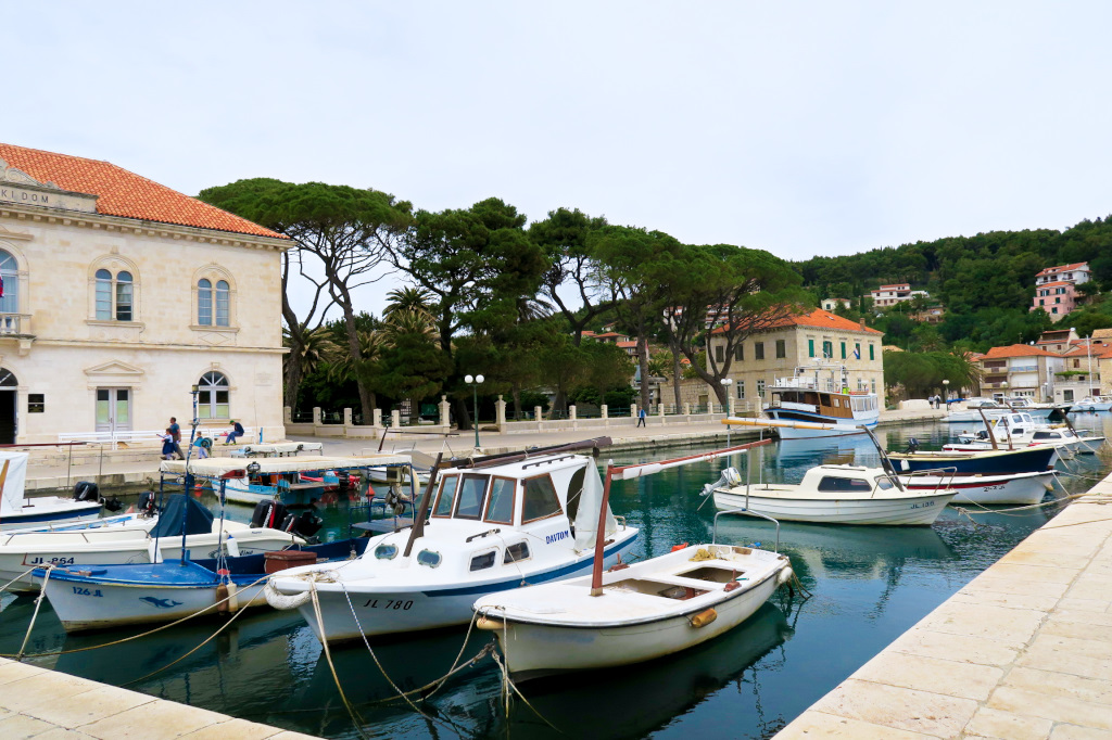 The harbor in the town of Jelsa, Hvar