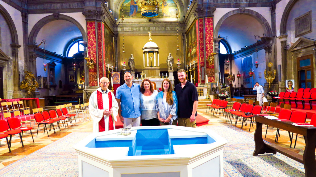 Renewing our vows at Chiesa SS Apostoli, Venice, Ital