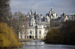 St James's Park, London, looking east from the Blue Bridge