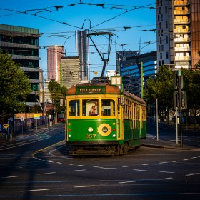 Old style Melbourne tram on the City Circle loop.