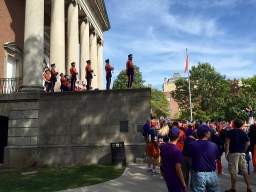 Tigers fans take in the Syracuse marching band.