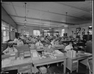 Southeastern Greyhound Lines; office, interior, large group of workers at their desks,