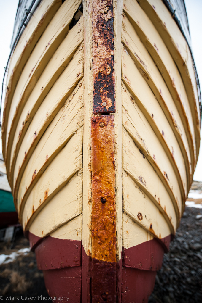 Wide-angle distortion on the prow of a boat
