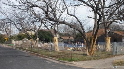 Duplex under construction on corner lot