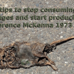 """A picture of a desiccated rat on pavement with the caption """"5 tips to stop consuming and start producing attributed to Terrance McKenna"""