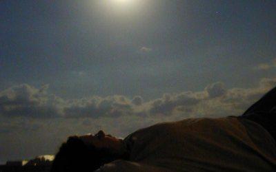 Moonlight: Amy on Kenosha harbor North Pier
