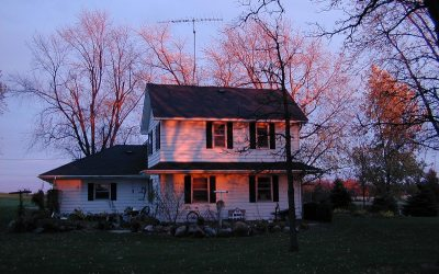 Wisconsin farmhouse at sunset