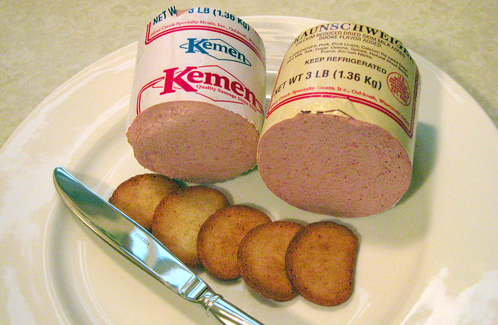 Kemen Braunschweiger and liver sausage on a plate with crackers