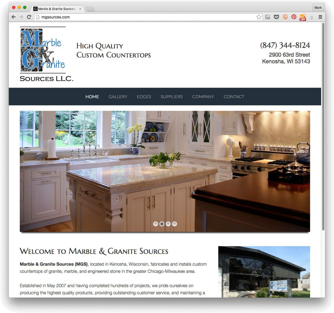 Website for Marble & Granite Sources, Kenosha, Wisconsin