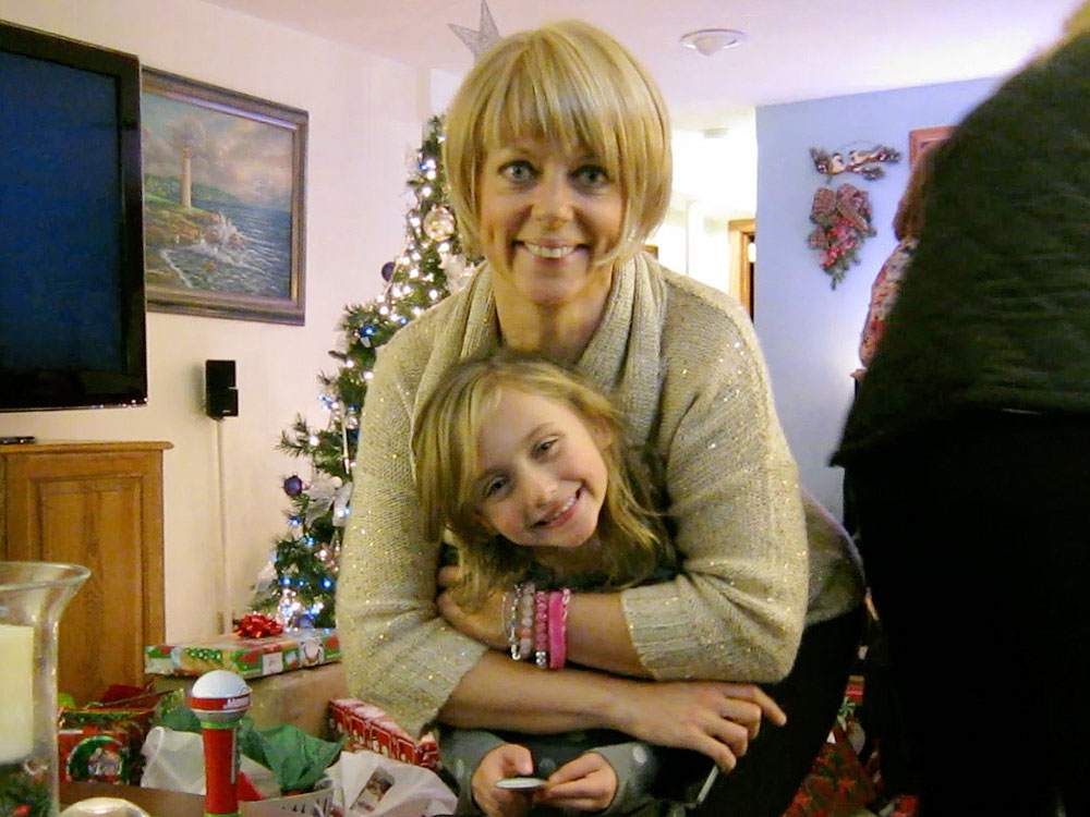 Christmas: Amy (with wig) and Zoey