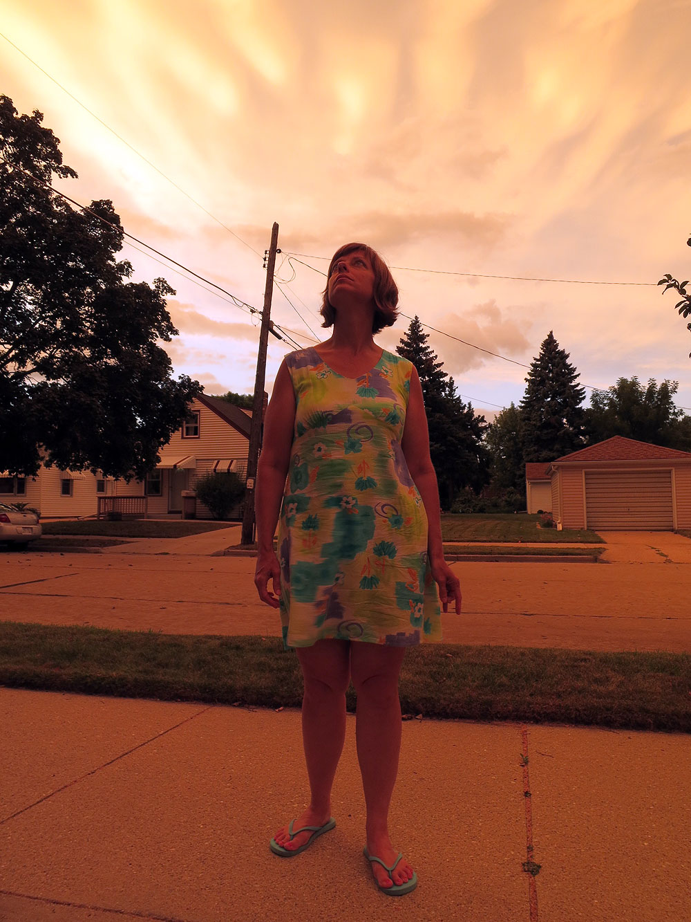 Breast cancer patient Amy Czerniec in Racine, Wisconsin at sunset