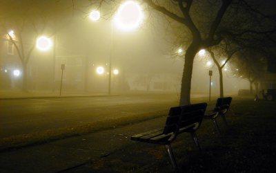 November fog, 7th Avenue, Kenosha