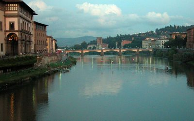 Ponte Vecchio view of Arno River at dusk, Florence, Italy