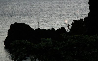 Black Rock torch lighting: Sheraton Maui Resort