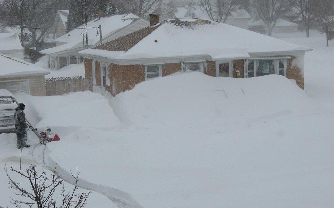 Blizzard of 2011 vs. snowblower, Racine, Wisconsin