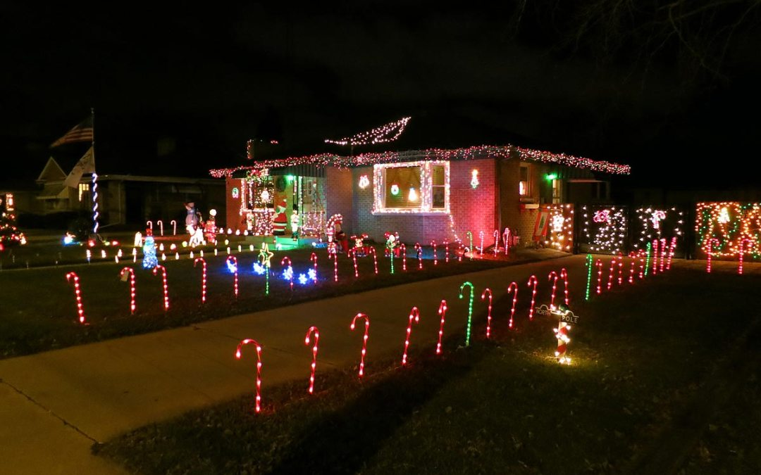 Christmas decorations: Candy cane lights, Racine, Wisconsin