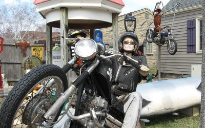 Mannequin on motorcycle, Cudahy, Wisconsin backyard