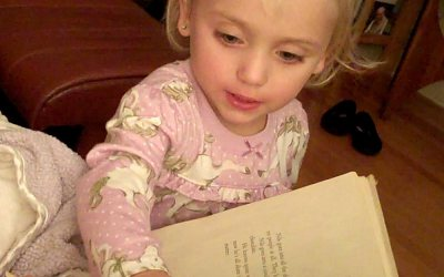 Our best video yet: Zoey reads along with Uncle Mark