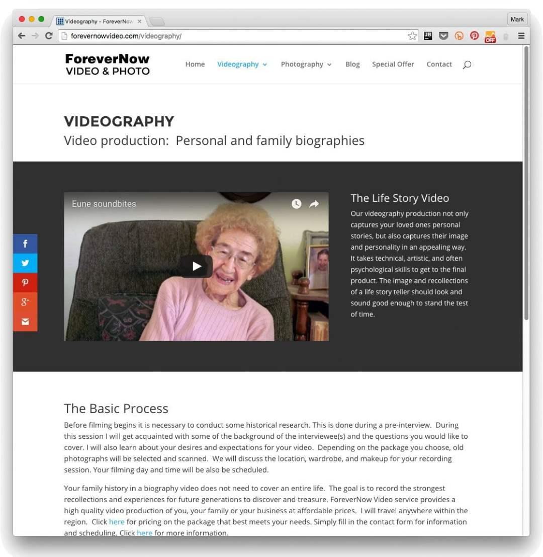 Web design example for videographer/photographer in Kenosha, Wisconsin