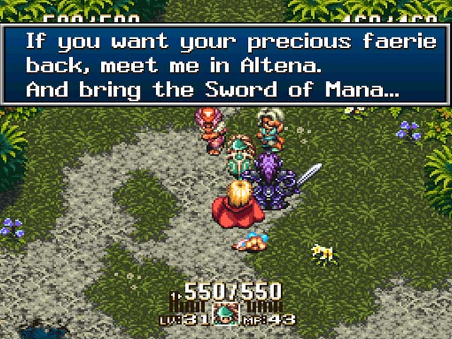 A screenshot of Seiken Densetsu 3, translated in collaboration by Neil Corlett and Lina`Chan.