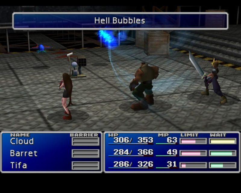 Final Fantasy VII battle mode screenshot showing the battle ground, avatars, enemies, and basic statistics