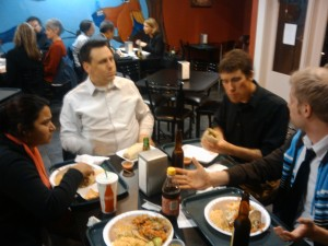 Shree, Chris, Moses, and Ben eating at El Charro, La Jolla Shores