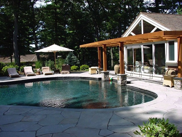 Custom home additions  renovations  guest house and pool  Concord  MA Pool