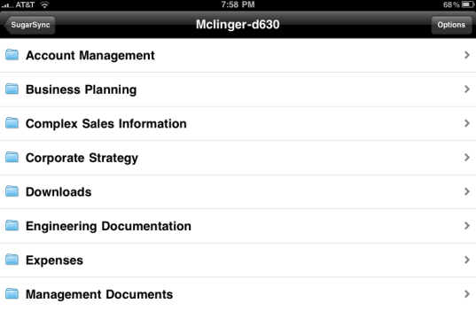 SugarSync iPad File View