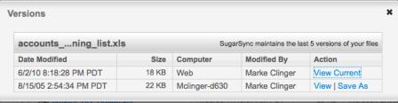 SugarSync saves File Versions