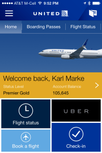 United Airlines iPhone App homepage