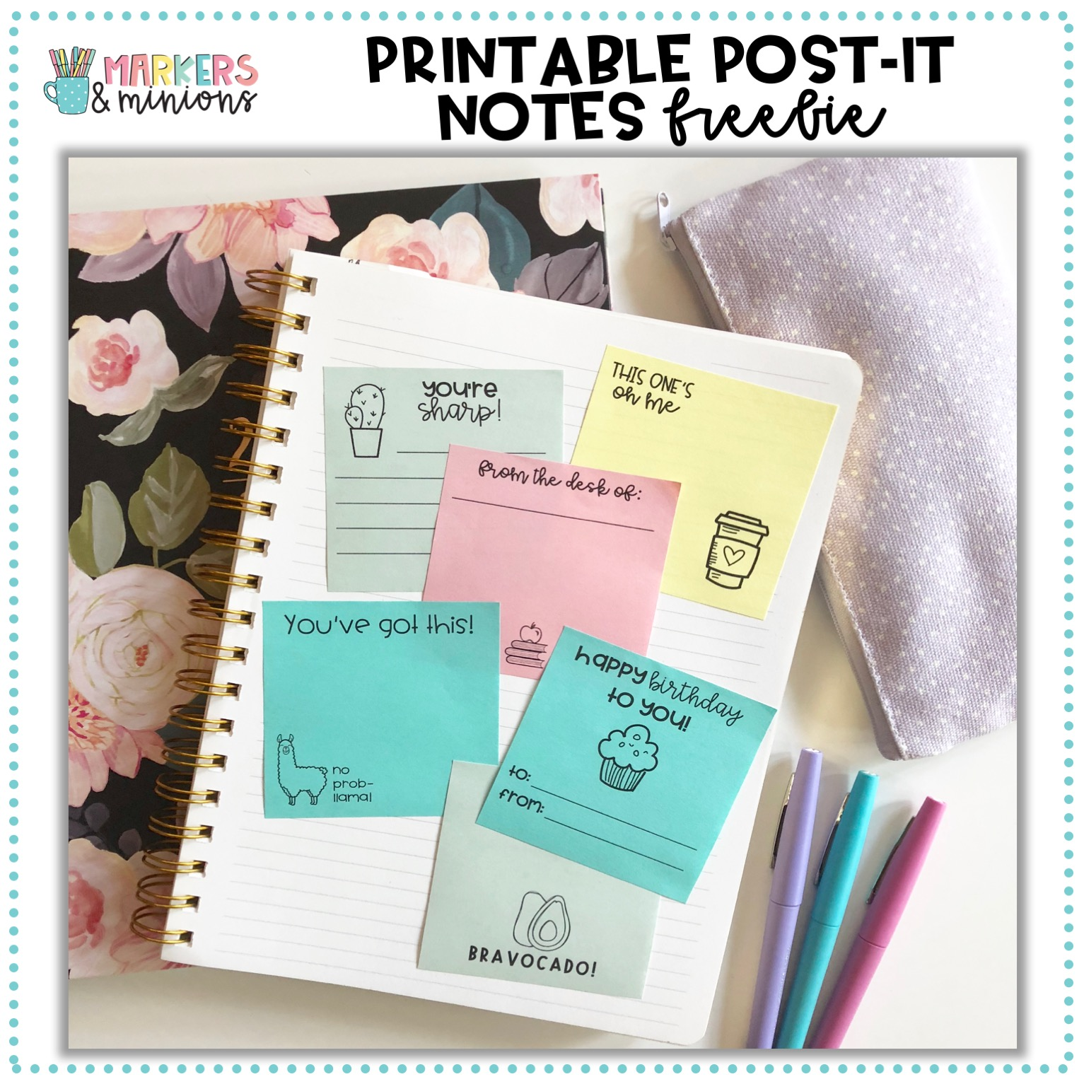 photograph regarding Printable Post Its titled Printable Sticky Notes Freebie