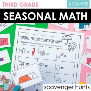 Third Grade math Scavenger Hunts Cover