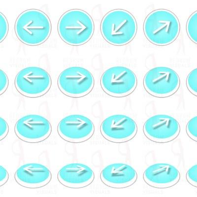 Set of White Arrows on Aqua Ellipse