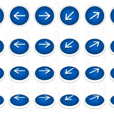 Set of Animated White Arrows on Blue Ellipse