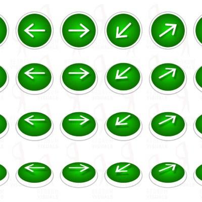 Set of Animated White Arrows on Green Ellipse
