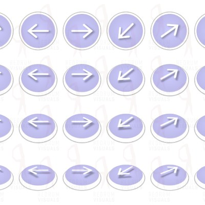 Set of Animated White Arrows on Lilac Ellipse