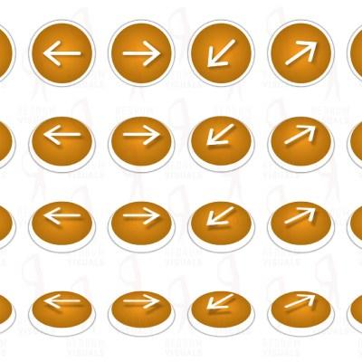 Set of White Arrows on Orange Ellipse