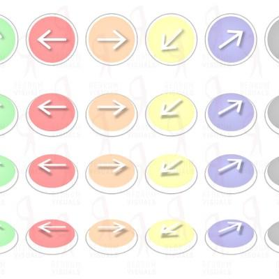 Set of White Arrows on Ellipse - Pastele Palette