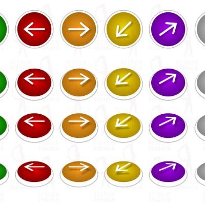 Set of White Arrows on Ellipse - Vibrant Pallet