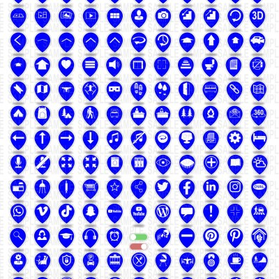 MacNimation - Tear Drop Icons- White on Deep Blue - 140 icons