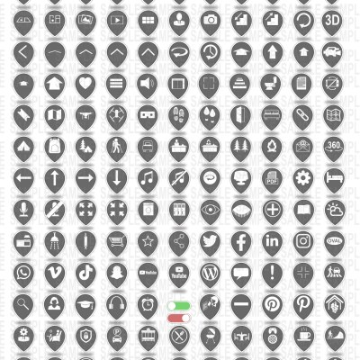 MacNimation - Tear Drop Icons- White on Grey - 140 icons