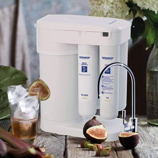 Aquaphor DWM-101S Morion RO-101S Sistema Filtrazione Acqua 4 Fasi a Osmosi Inversa (Depuratore Acqua - Reverse Osmosis Drinking Water Machine per Casa) con Serbatoio e filtri di Cambio rapido