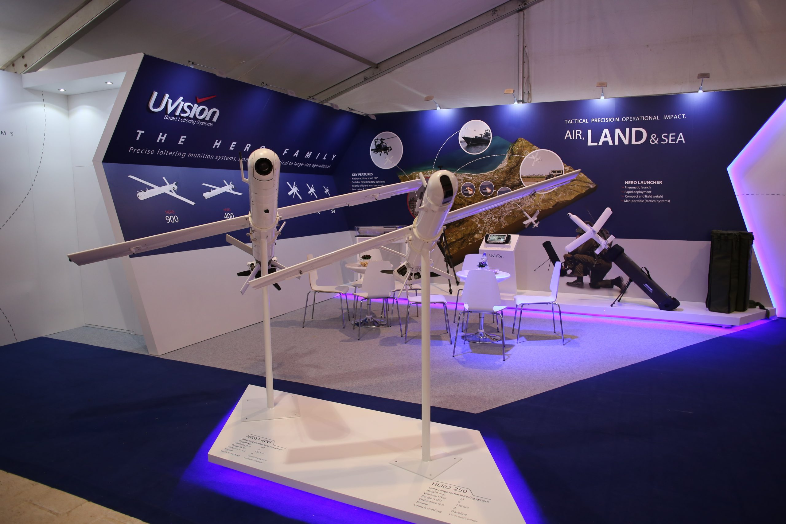 UVision unveiled a family of loitering munitions designated Hero