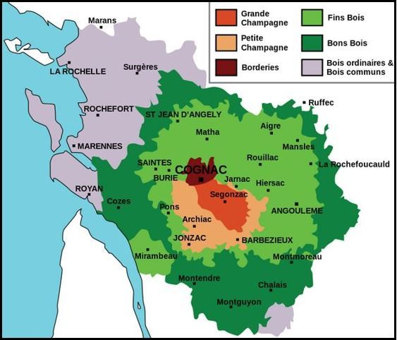Map of Cognac region